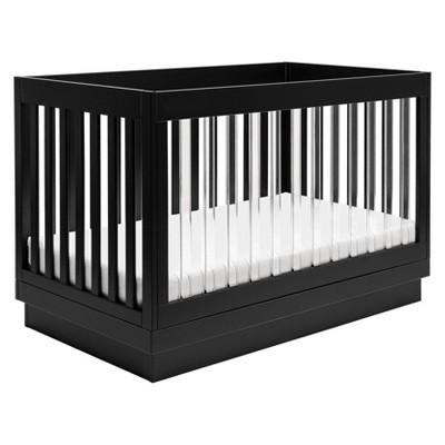 Babyletto Harlow 3-In-1 Convertible Crib - Black Finish, Black Base And Acrylic Slats