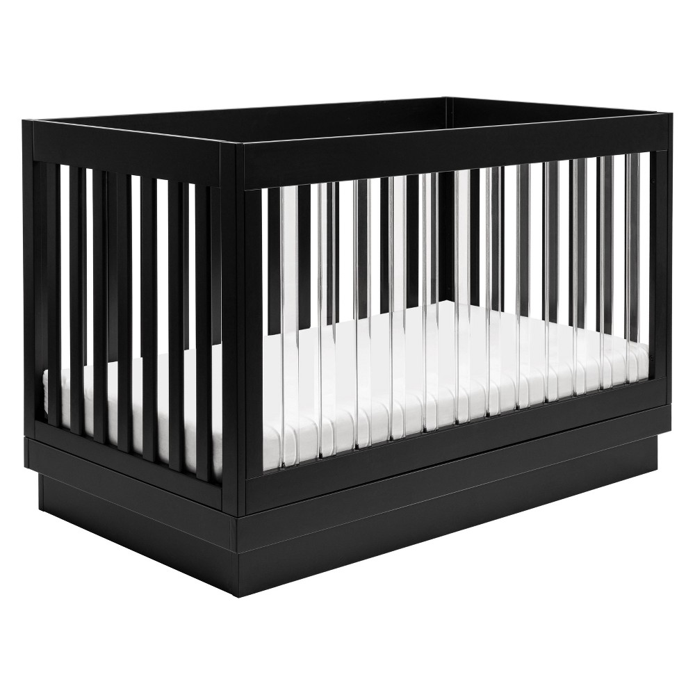 Image of Babyletto Harlow 3-In-1 Convertible Crib - Black Finish, Black Base And Acrylic Slats, Black/Acrylic