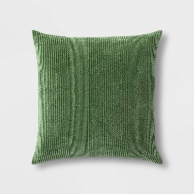 Quilted Washed Velvet Oversize Square Pillow Green - Threshold™