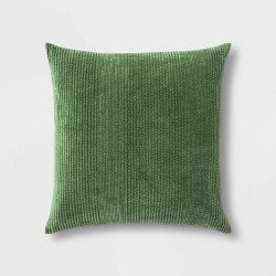 Quilted Washed Velvet Oversize Square Pillow - Threshold™
