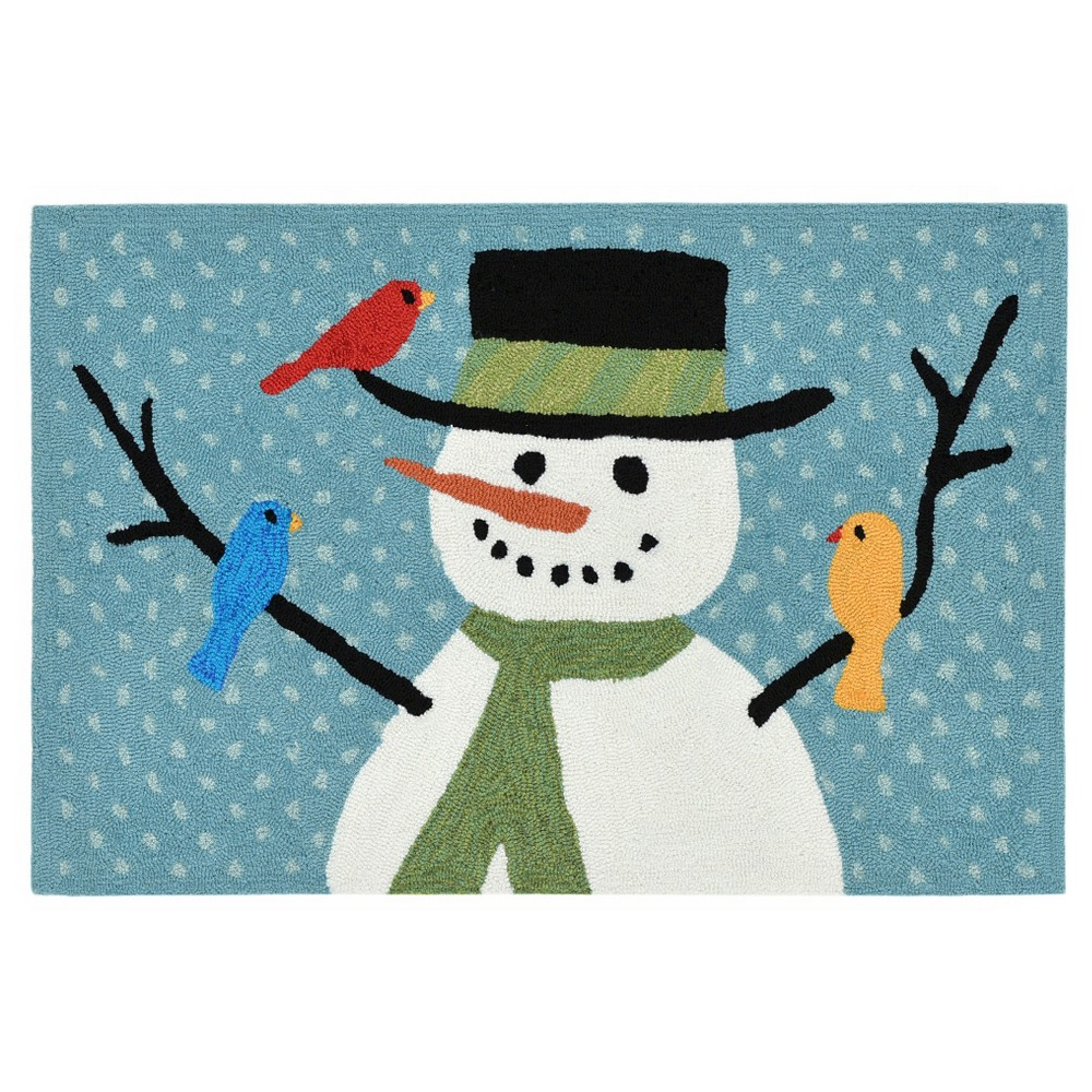 """Image of """"Frontporch Snowman and Friends Rug - Blue - (1'8""""""""X2'6"""""""") - Liora Manne"""""""