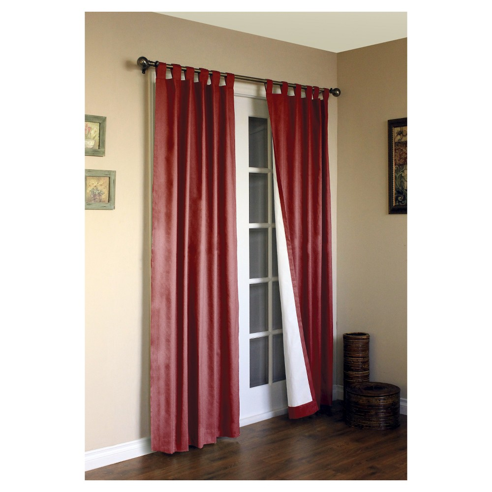 "Image of ""95""""x80"""" Set of 2 Weathermate Tab Top Room Darkening Curtain Panel Red - Thermalogic"""