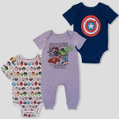 Baby Girls' 3pk Avengers Bodysuit - Blue 3-6M
