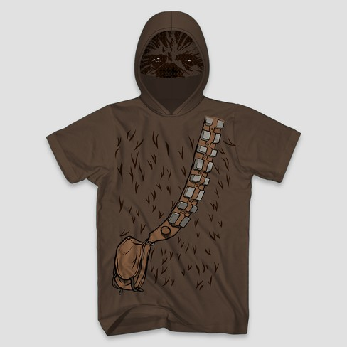 Men S Star Wars Chewbacca Short Sleeve Hooded T Shirt Brown Target
