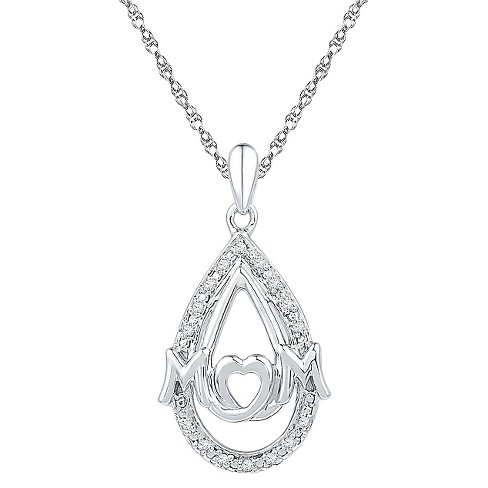 "Women's Round Diamond Accent Prong Set Pear Mom Fashion Pendant in Sterling Silver (IJ-I2-I3) (18"") - image 1 of 1"