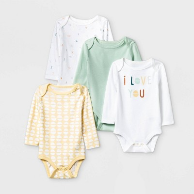 Baby Boys' 4pk Long Sleeve Bodysuit - Cloud Island™ Mint/Yellow/White