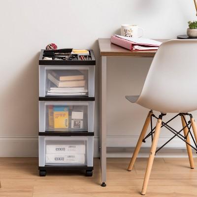 IRIS 3 Drawer Plastic Storage Cart with Organizer Top Black/Natural Clear
