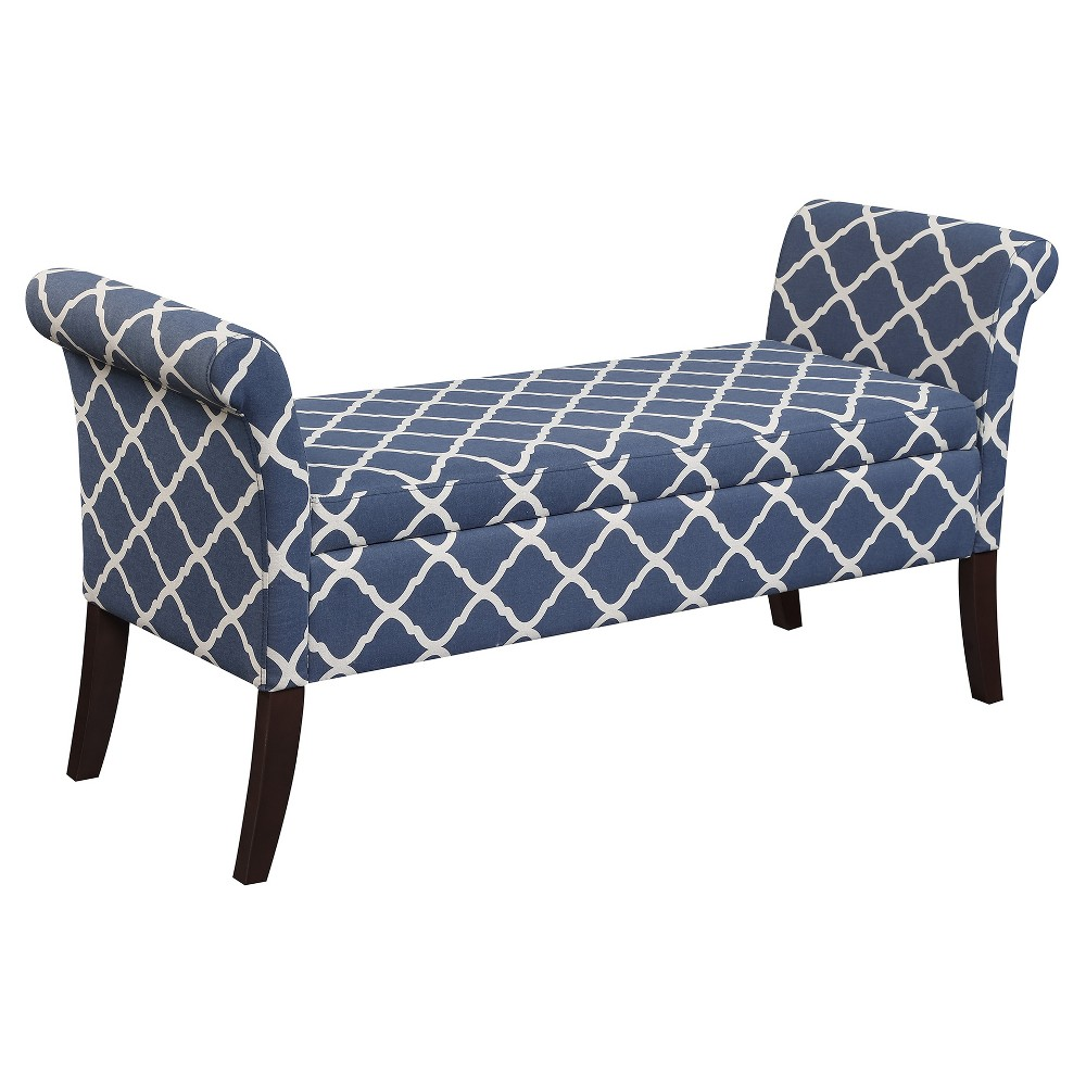 Designs4Comfort Garbo Storage Bench - Moroccan Blue Fabric - Convenience Concepts