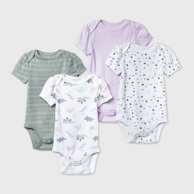 Baby Girls' 4pk Dino Dreams Short Sleeve Bodysuit - Cloud Island™ Pink 6-9M