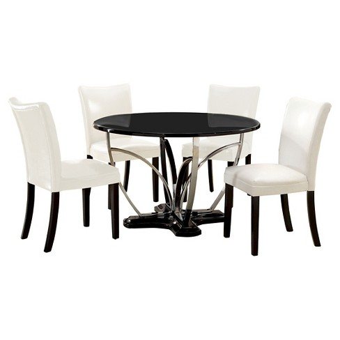 Iohomes 5pc Fountain Chrome Pedestal Round Dining Table With White