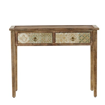 Natural Wood Desk with Carved Drawers Brown - Olivia & May