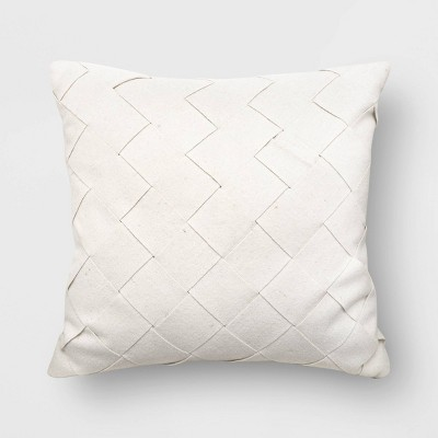 Oversized Basket Weave Square Throw Pillow Cream - Project 62™