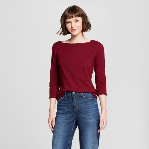 8d1a14c563cc82 Women's 3/4 Sleeve Boatneck T-Shirt - A New Day™ Burgundy : Target