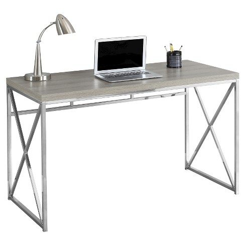 Chrome Metal Computer Desk Dark Taupe Everyroom