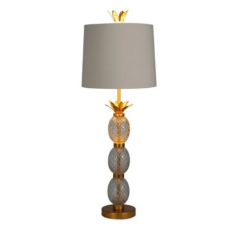 Stack Glass Pineapple Buffet Table Lamp, Gold Buffet Table Lamps