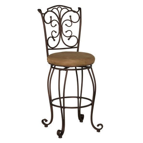 Phenomenal 29 Gathered Back Bar Stool With Upholstered Seat Brown Metal Linon Unemploymentrelief Wooden Chair Designs For Living Room Unemploymentrelieforg