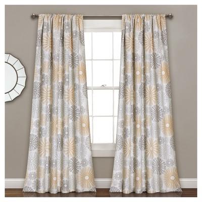 Multi Circles Room Darkening Window Curtain Set Yellow (84 x52 )- Lush Décor