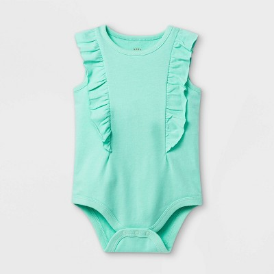 Baby Girls' Ruffle Short Sleeve Bodysuit - Cat & Jack™ Mint 6-9M