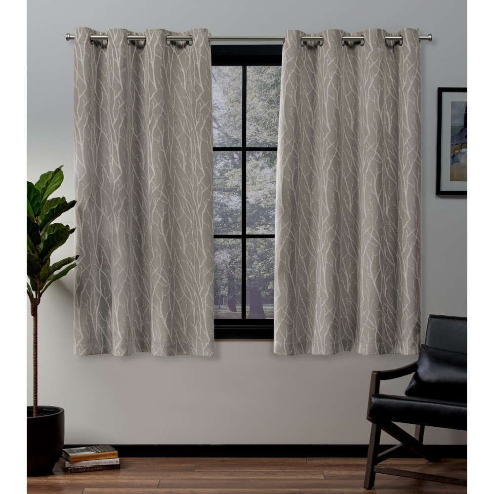 52x63 Forest Hill Woven Blackout Grommet Top Window Curtain Panel Pair Natural - Exclusive Home