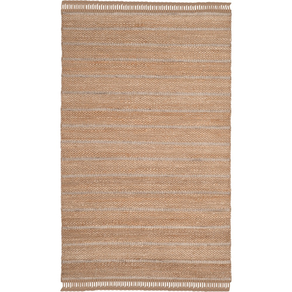 4'X6' Solid Woven Area Rug Natural/Light Gray - Safavieh