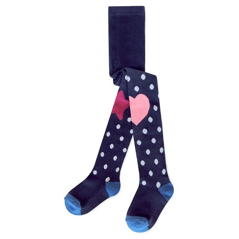 Girls' Dot Heart Knee Tights Cat & Jack™ - Navy - image 1 of 1