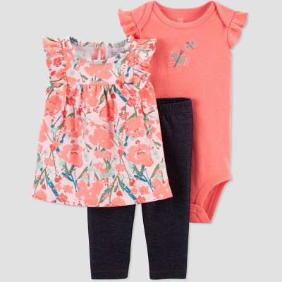 Baby Girls' Floral Butterfly Top & Bottom Set - Just One You® made by carter's Coral