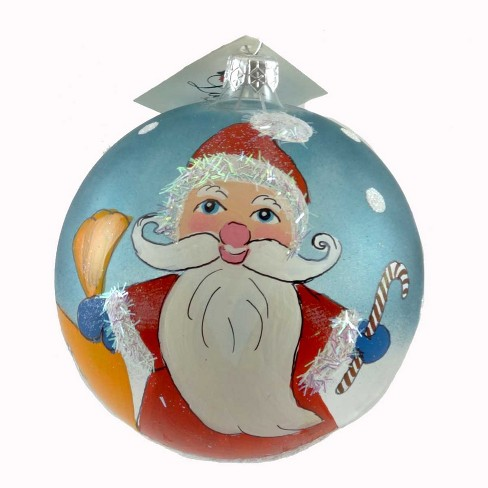 Laved Italian Ornaments Blue Ball Santa Candycane Transparent  -  Tree Ornaments - image 1 of 2