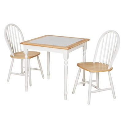 3pc Chester Tile Top Dining Set White/Natural - Buylateral