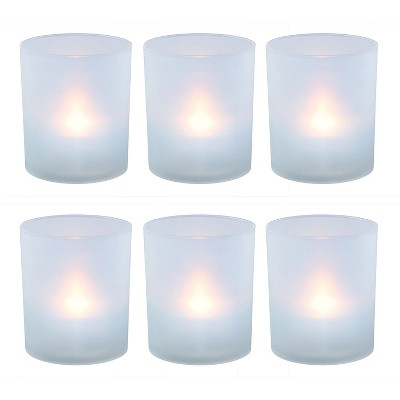 6ct Battery Operated Flickering LED Warm Lights In Frosted Holders With Timer - Lumabase