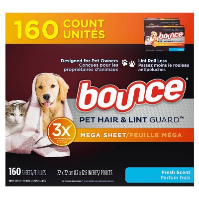 Bounce Fresh Scent Pet Hair and Lint Guard Mega Dryer Sheets - 160ct