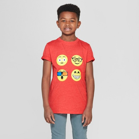 Boys' Emojis Short Sleeve Graphic T-Shirt - Cat & Jack™ Red - image 1 of 3