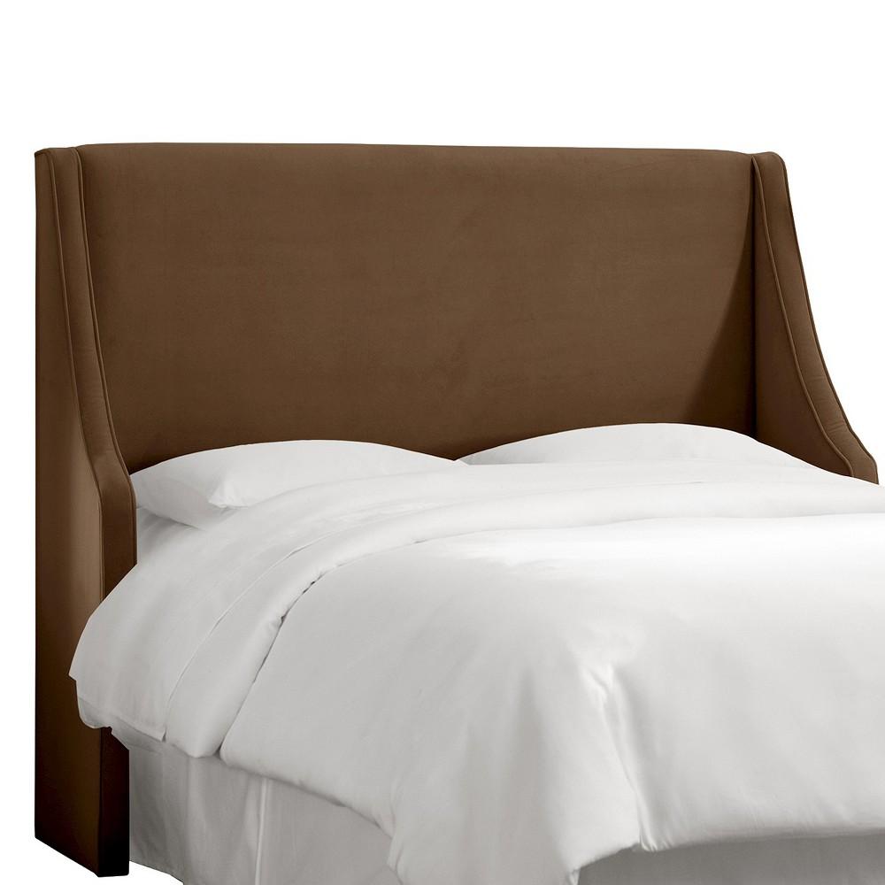 California King Swoop Arm Wingback Headboard Velvet Chocolate - Skyline Furniture