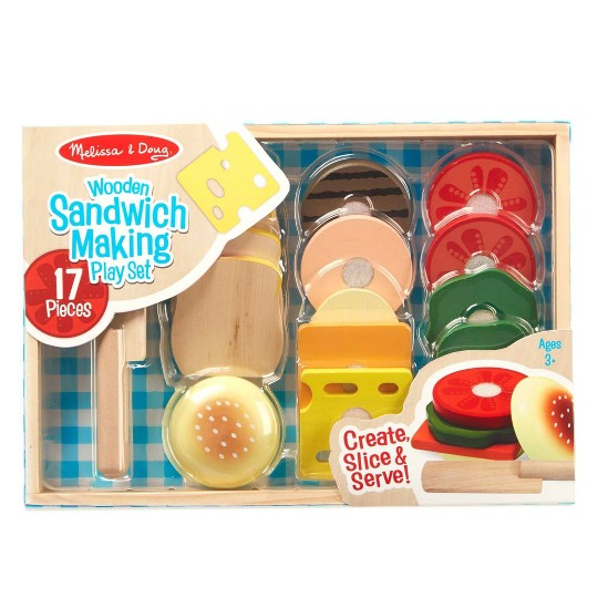 Melissa & Doug Wooden Sandwich-Making Pretend Play Food Set image number null