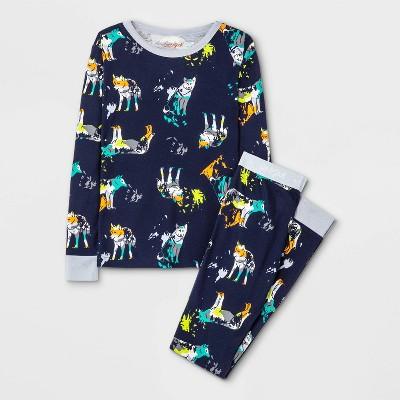Boys' 2pc Animals Tight Fit Pajama Set - Cat & Jack™ Black
