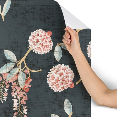 2ft x 10ft Holli Zollinger Floralista Wallpaper Black - Deny Designs