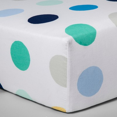Fitted Crib Sheet Dots - Cloud Island™ White/Blue