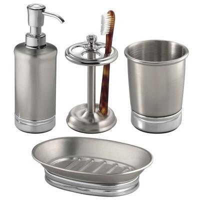 mDesign 4 Piece Metal Bathroom Vanity Countertop Accessory Set
