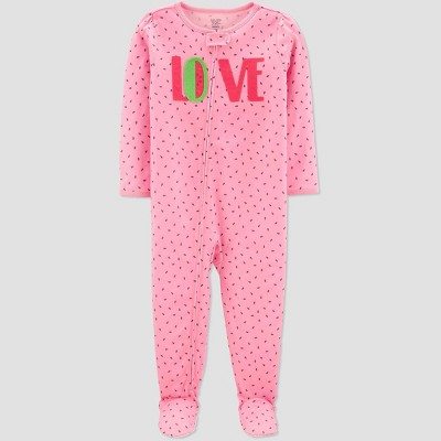 Baby Girls' Love Girl Printed Footed Sleepers - Just One You® made by carter's Pink 9M
