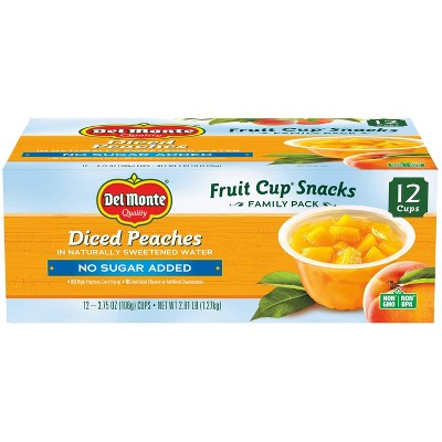 Del Monte Diced Peaches Fruit Cup Snacks - 44.8oz 12ct