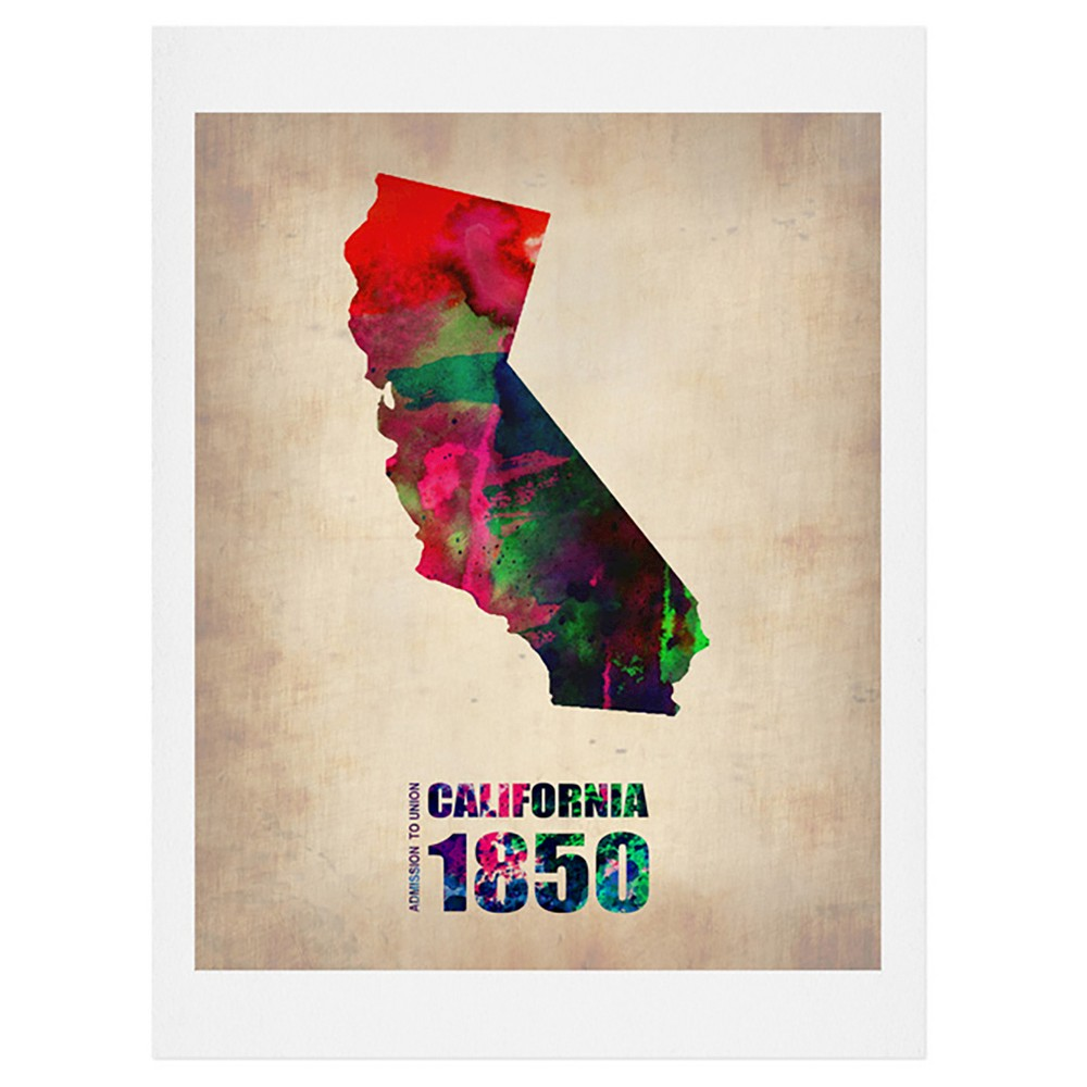 Naxart California Watercolor Map Art Print - Deny Designs, Multicolored Beige