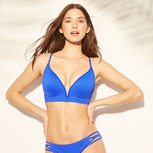 9e152f4f062 Women's Women Dream Lightly Lined V Wire Ribbed Bikini Top - Shade & Shore™  Cobalt Blue : Target
