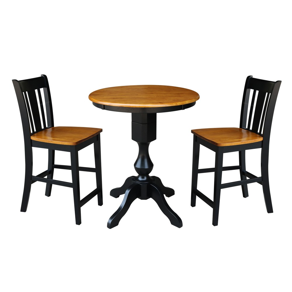 30 3pc Daisy Round Pedestal Counter Height Table with 2 Stools Set Black/Cherry - International Concepts, Multicolored