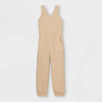 Girls' Rib-Knit Sleeveless Jumpsuit - art class™