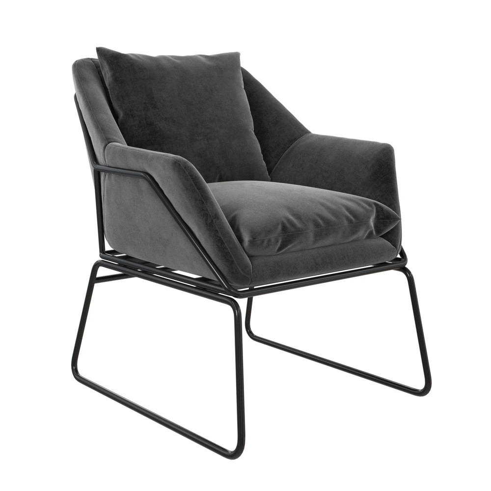 Alisa Velvet Accent Chair Gray Room 38 Joy