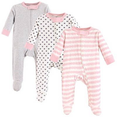 Touched by Nature Baby Girl Organic Cotton Zipper Sleep and Play 3pk, Pink Gray Scribble