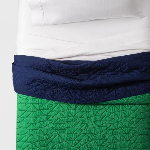 Twin Triangle Stitch Quilt Green - Pillowfort™ - image 1 of 4