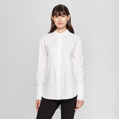 Women S Long Sleeve Button Down Collared Shirt Prologue White