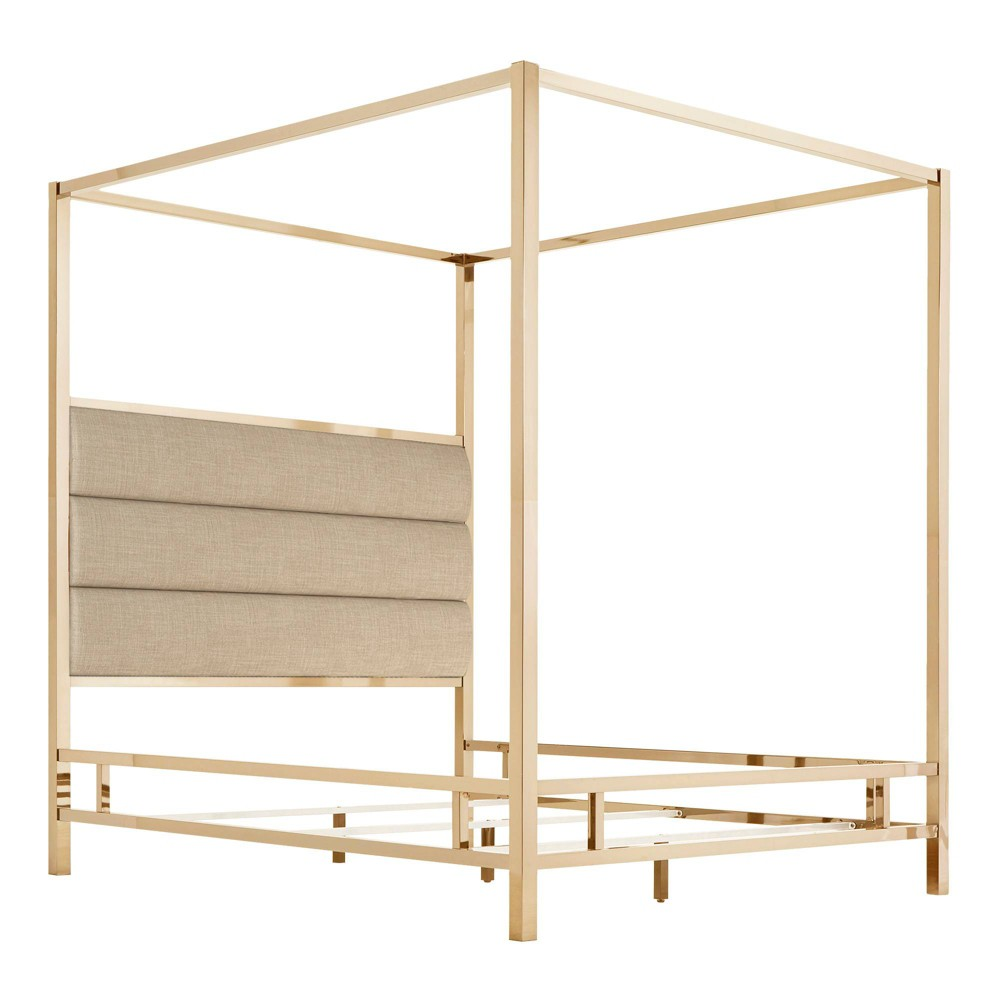 Queen Manhattan Champagne Gold Canopy Bed with Horizontal Panel Headboard Oatmeal Brown - Inspire Q