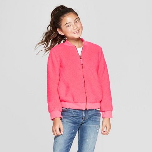 Girls' Sherpa Bomber Jacket - Cat & Jack™ Coral XS - image 1 of 3