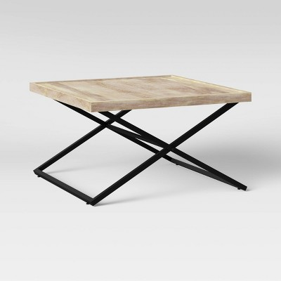 Jamesville Wood X Frame Wood Square Coffee Table Gray - Threshold™